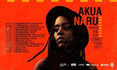 """October 18: Akua Naru: WHEN THE JOY COMES TOUR 2017 Akua Naru - ihre Stimme steht für die Zukunft des weiblichen HipHops . Mit """"When The Joy Comes"""" kündigt die US-Amerikanerin mit Wahlheimat Köln ihr nächstes Album an, mit dem sie im Herbst 2017 live auf Tour zu erleben ist. Ihre Musik zeugt nach wie vor von politischer Dringlichkeit und feministischer, intellektueller Poesie. Unter den Jazz- und Soul-infizierten Sound der First Lady des Global Hip Hop mischen sich auf dem neuen Material zusätzlich afrikanische Einflüsse, die von black joy beseelt und inspiriert sind. Ab Oktober bringt Akua Naru den Boom Bap zurück! @ Astra Kulturhaus Berlin"""